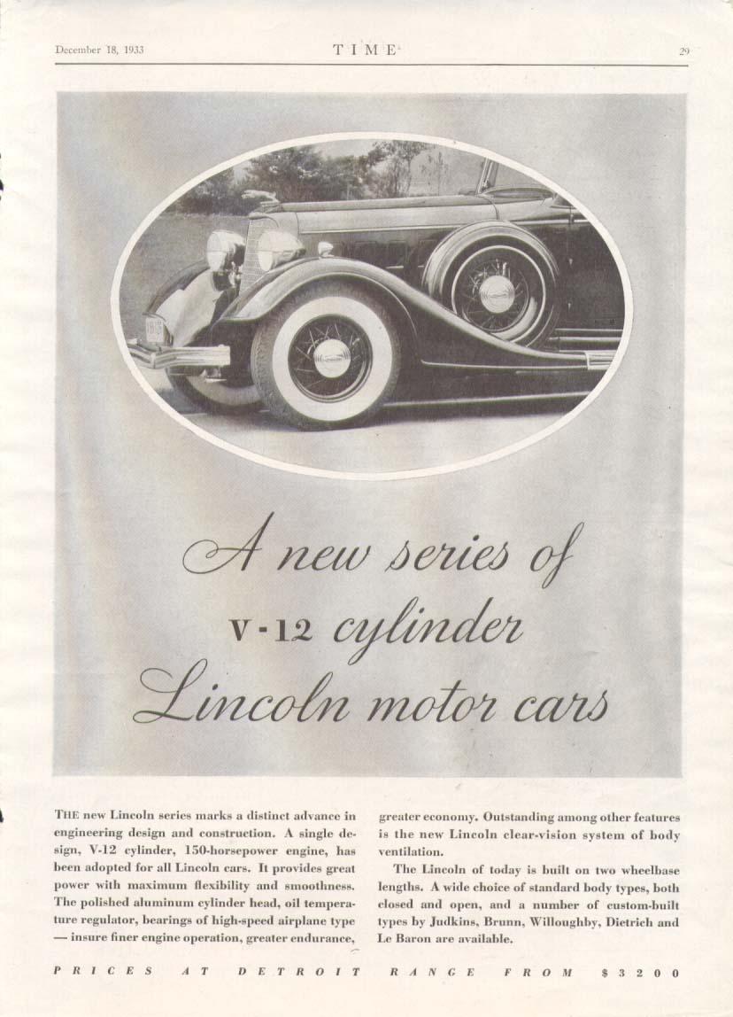 A new series of V-12 Lincoln motor cars ad 1934