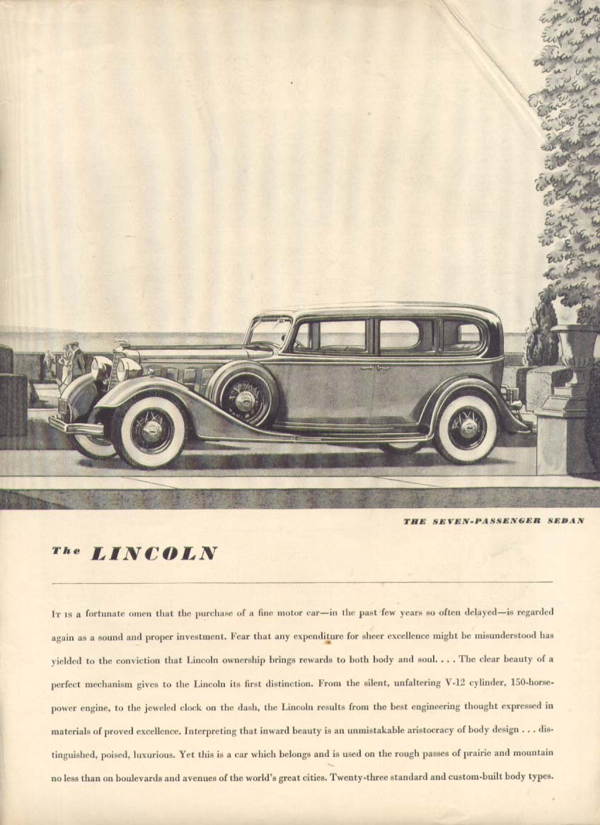 A fortunate omen: Lincoln 7-passenger Sedan ad 1934