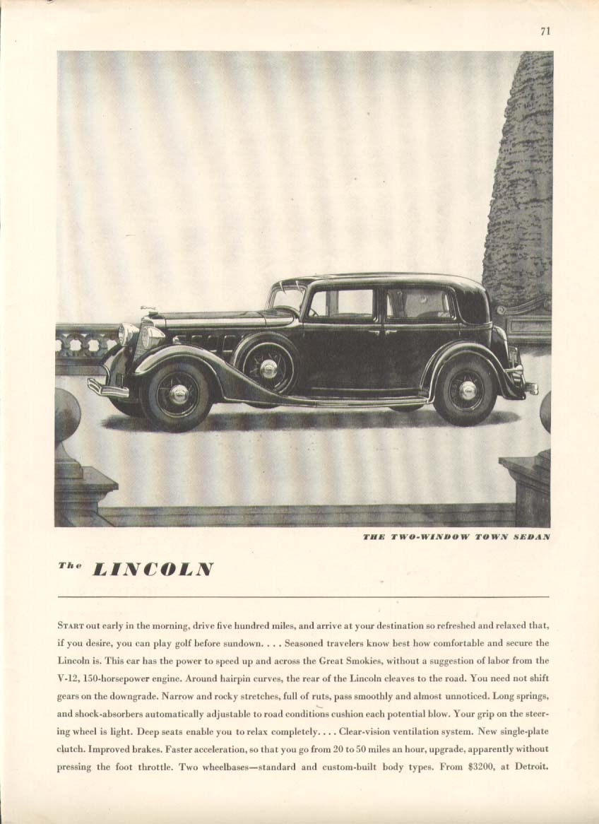 Image for Start out early in the morning Lincoln ad 1934