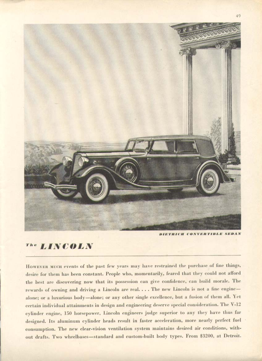 Image for However much Lincoln Dietrich Convertible Sedan ad 1934