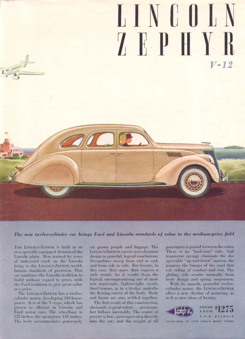 Image for The new 12-cylinder car: Lincoln Zephyr ad 1936