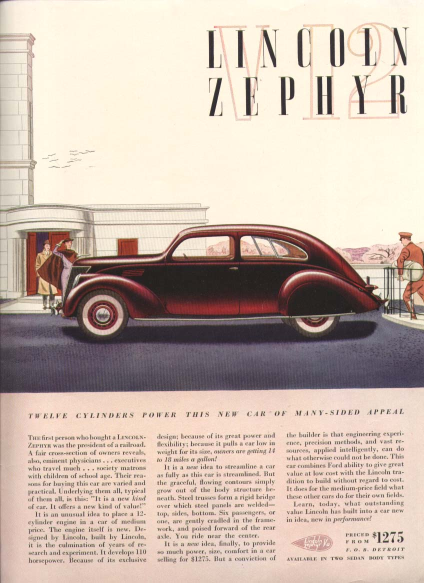 12 Cylinders Power this Lincoln Zephyr ad 1936