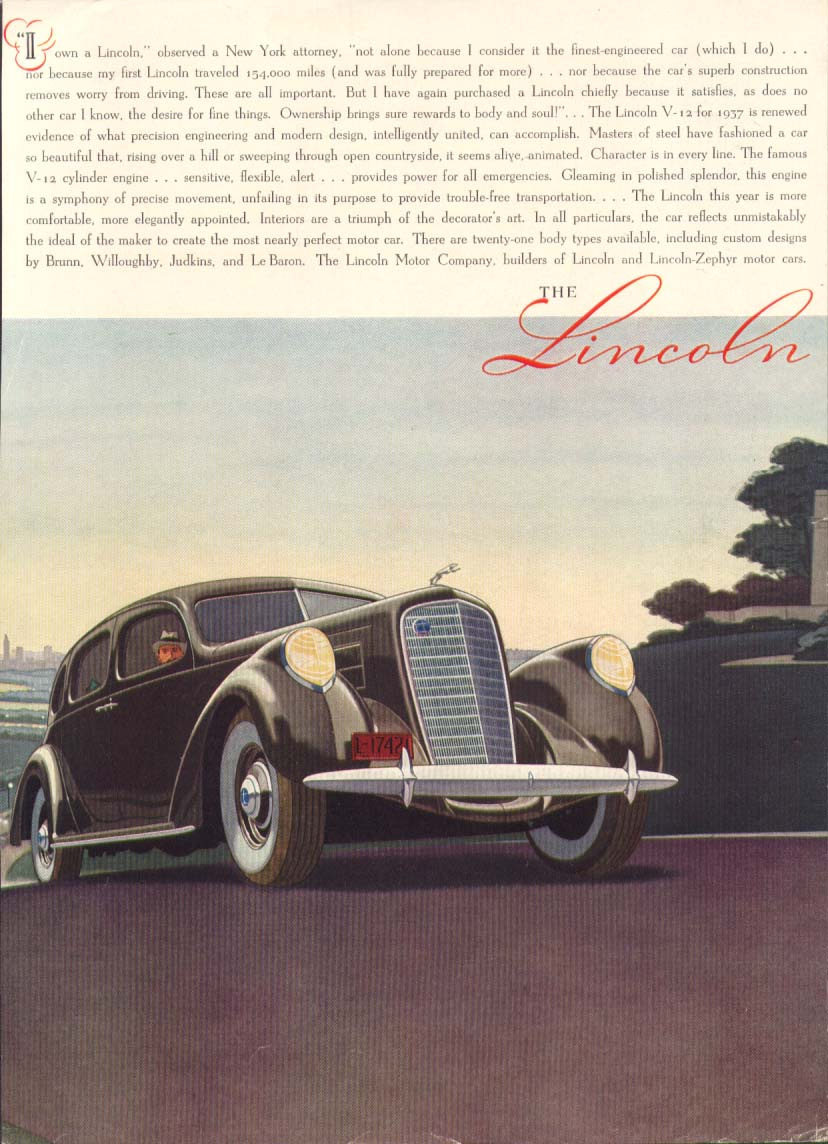 Image for I own a Lincoln observed a NY attorney ad1936