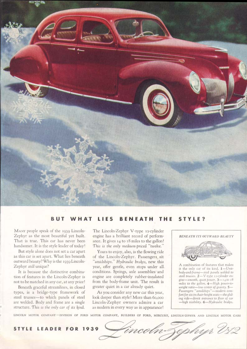 Image for What lies beneath the style? Lincoln Zephyr ad 1939