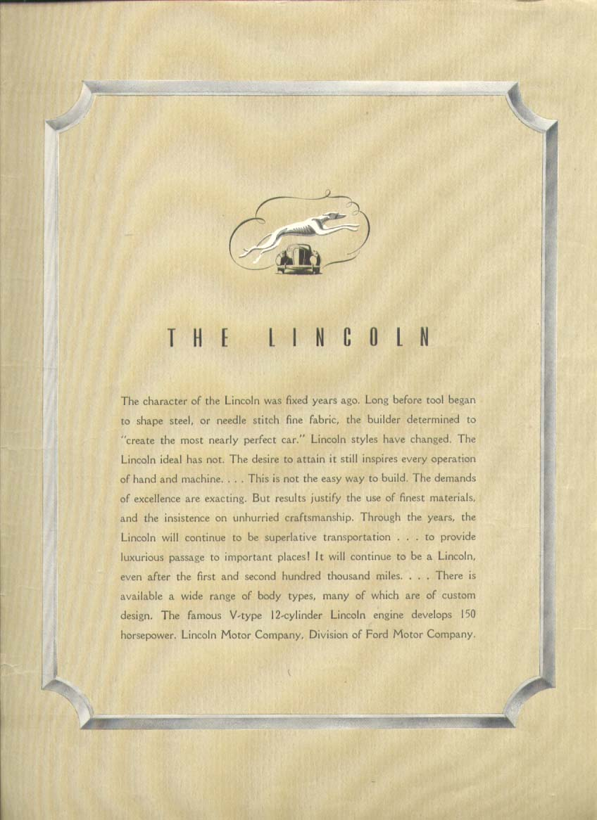 Image for The character was fixed years ago Lincoln V-12 ad 1939