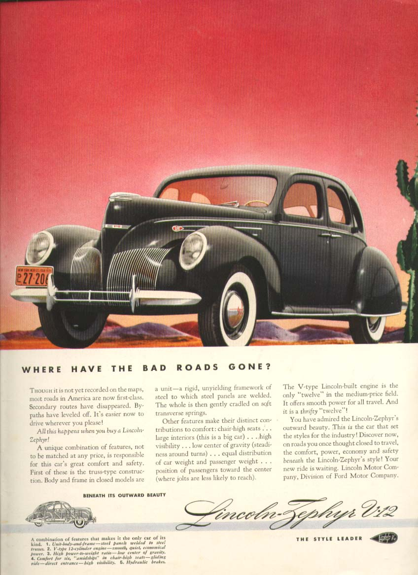 Image for Where have the bad roads gone? Lincoln Zephyr ad 1939