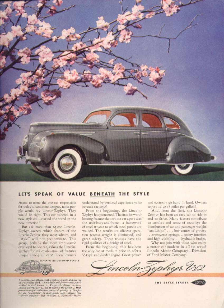 Image for Let's speak of value beneath: Lincoln Zephyr ad 1939