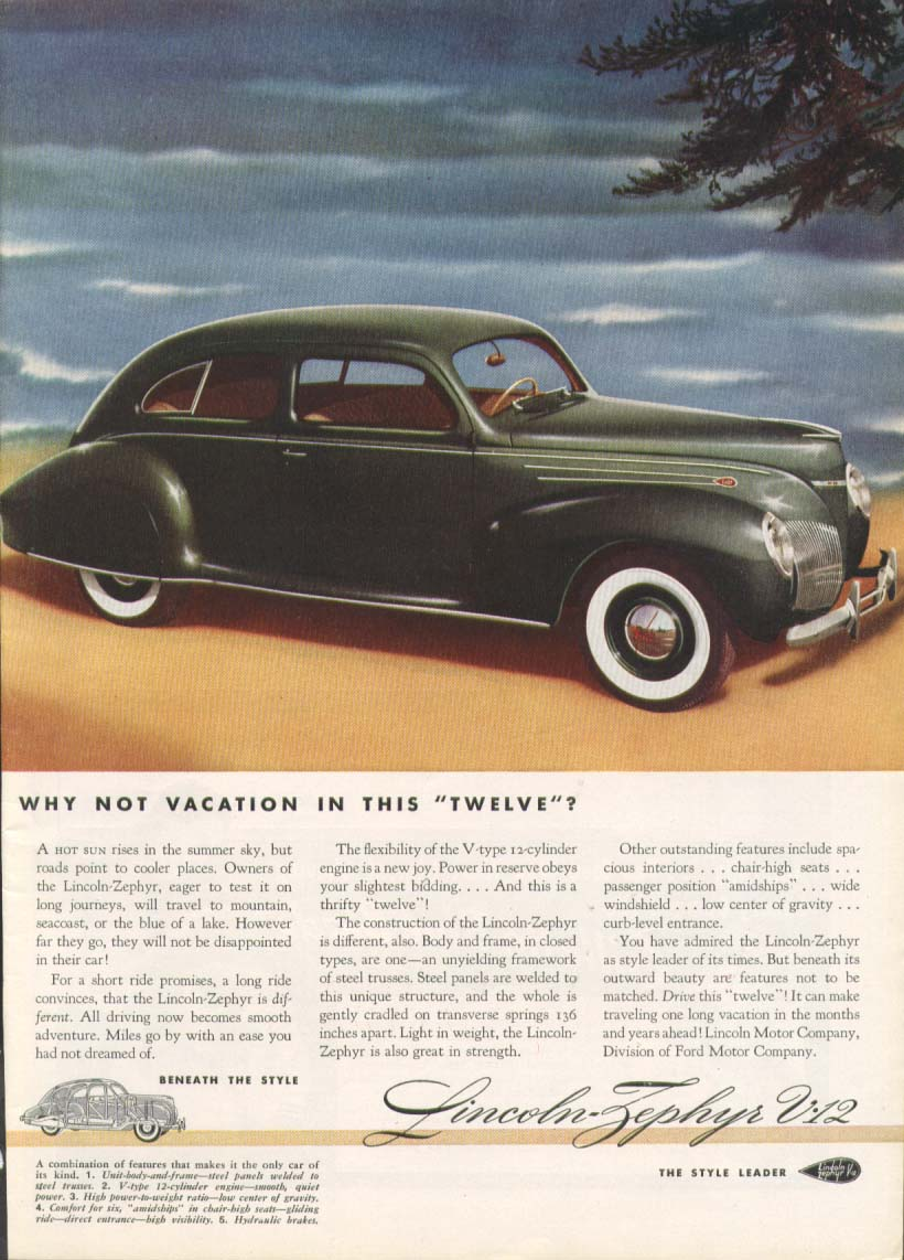 Image for Why not vacation in this twelve? Lincoln Zephyr ad 1939