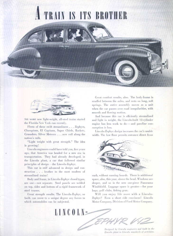 A train is its brother Lincoln Zephyr V-12 ad 1940