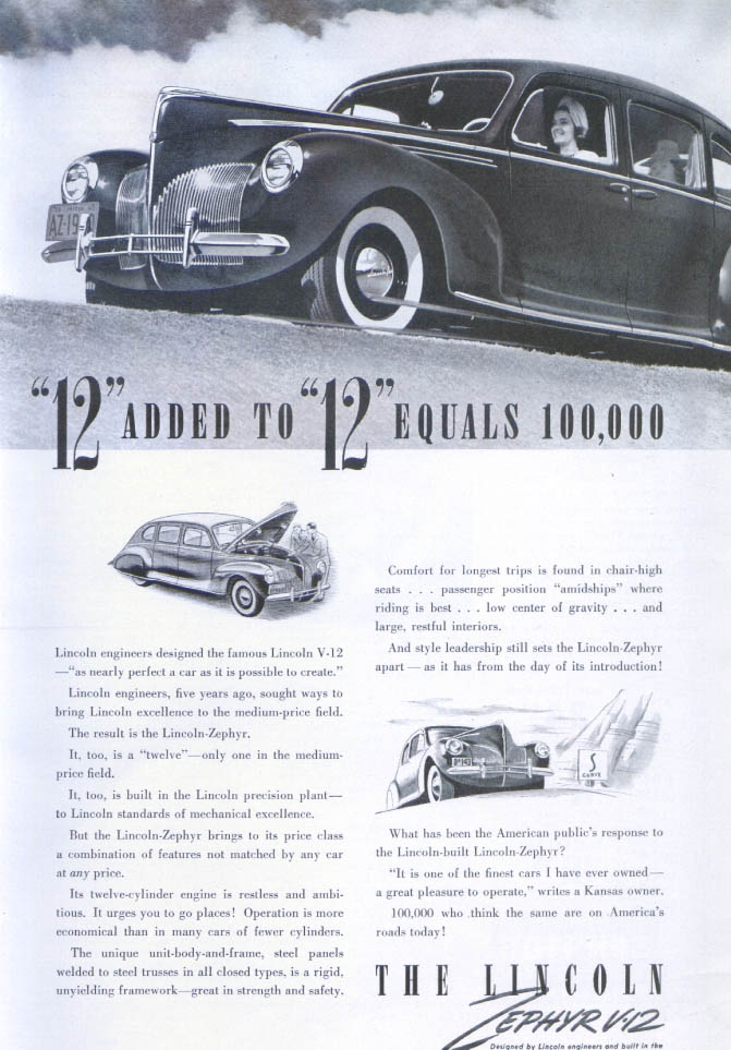 12 added to 12 equals 100,000 Lincoln Zephyr ad 1940