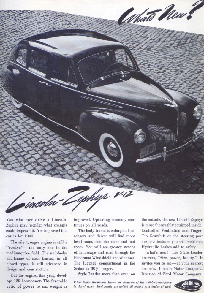 Image for What's New? Lincoln Zephyr V-12 ad 1940