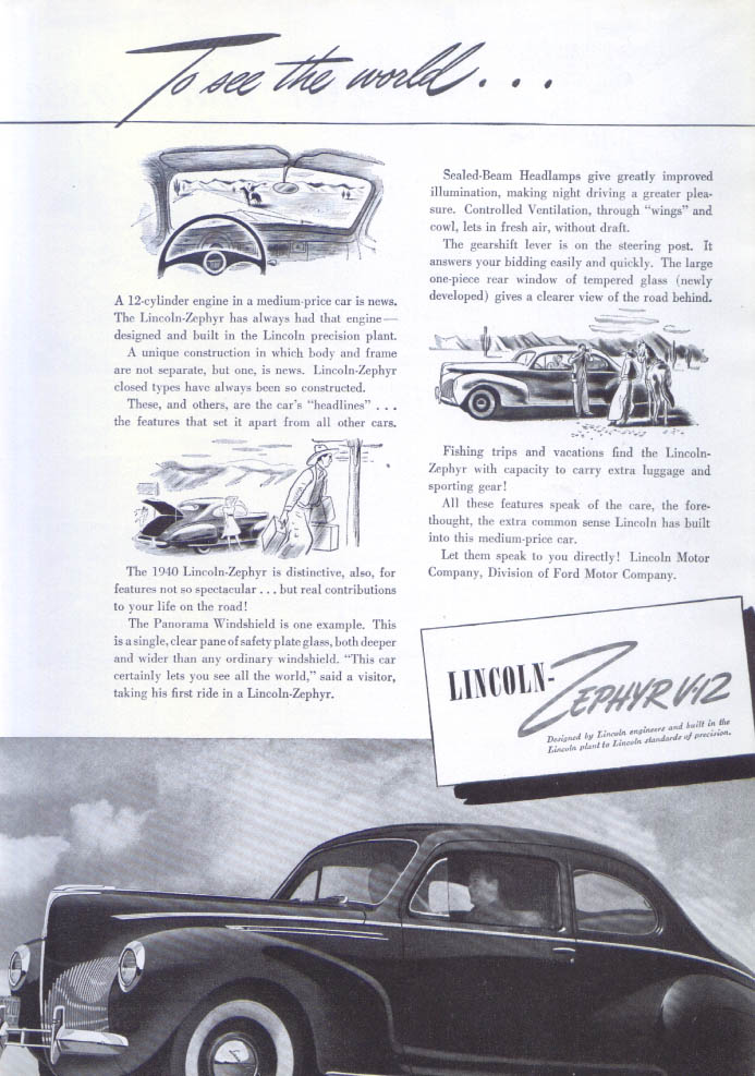 Image for To see the world . . . Lincoln Zephyr V-12 ad 1940