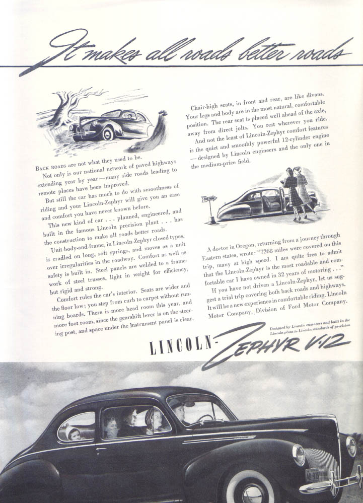 Image for It makes all roads better Lincoln Zephyr V-12 ad 1940