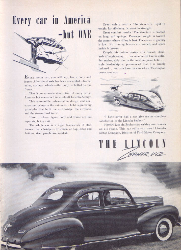 Image for Every car in America - but one Lincoln Zephyr ad 1940