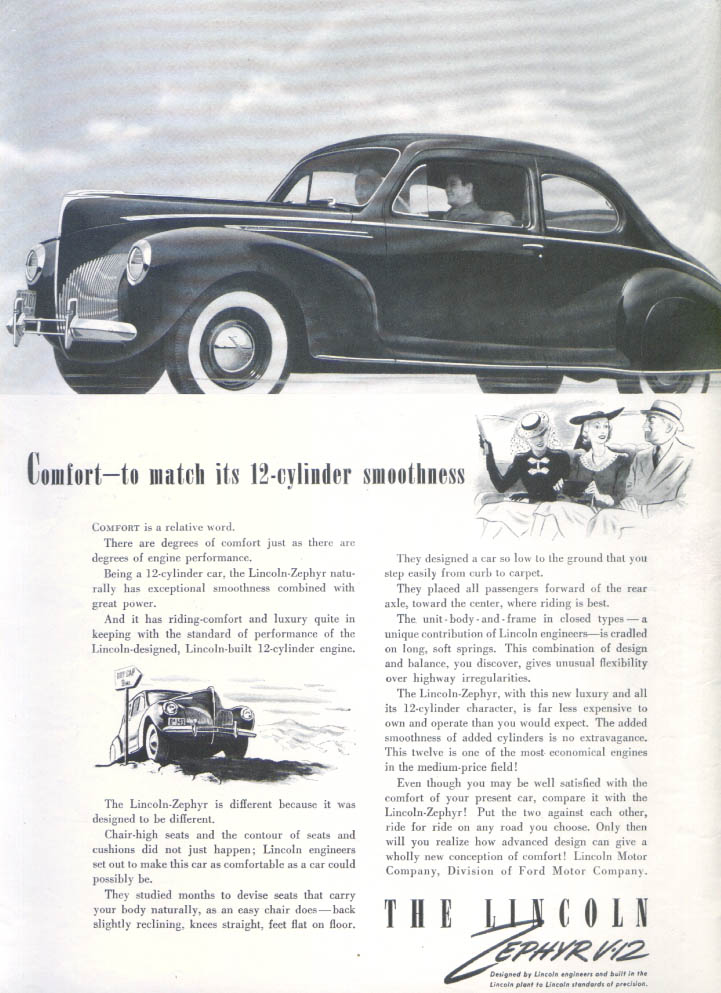 Image for Comfort to match its smoothness Lincoln Zephyr ad 1940