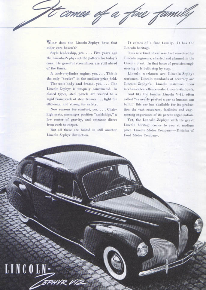 Image for It comes of a fine family Lincoln Zephyr V-12 ad 1940