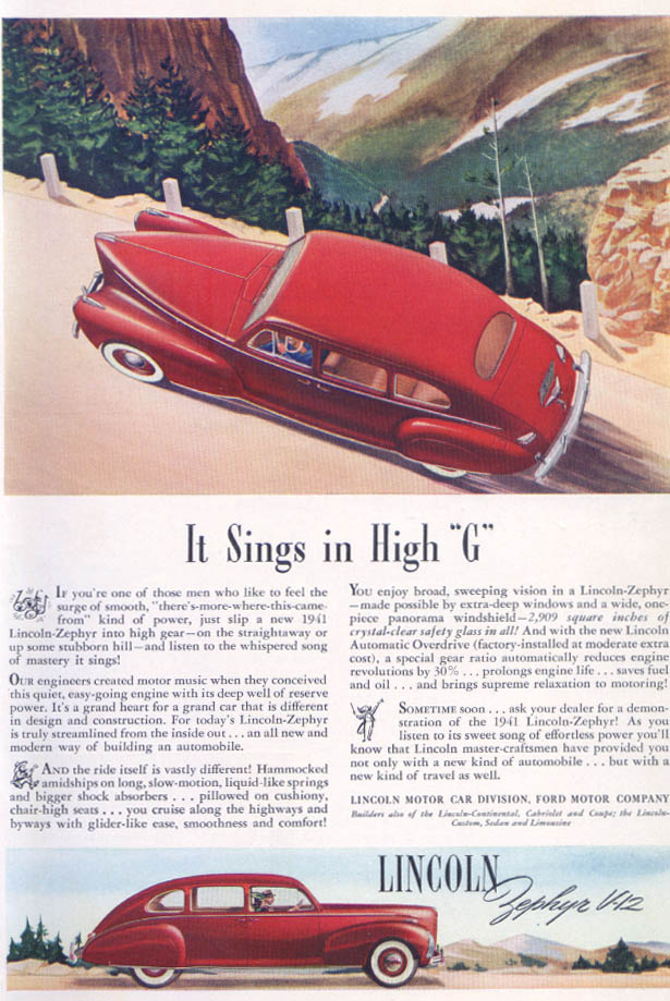 "Image for It Sings in High ""G"" Lincoln Zephyr V-12 ad 1941"