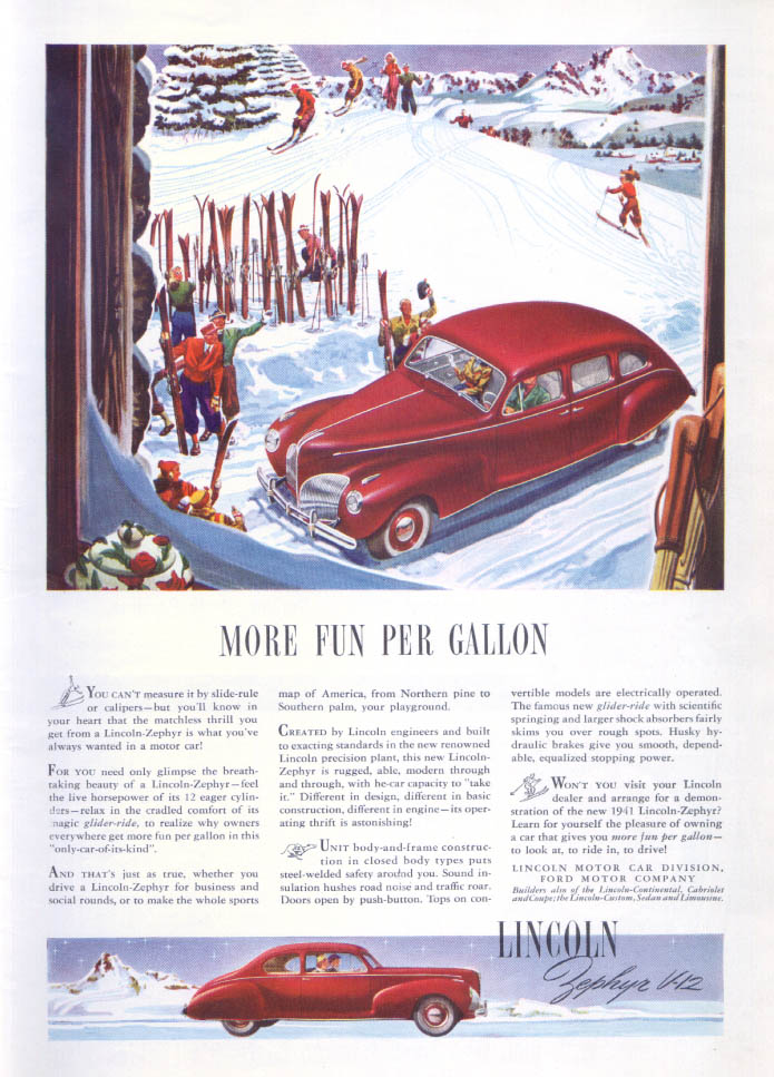 Image for More Fun Per Gallon: Lincoln Zephyr V-12 ad 1941