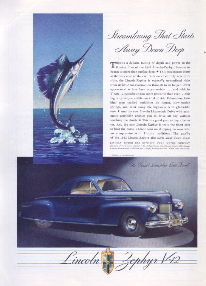 Image for Streamlining starts down deep Lincoln Zephyr ad 1942