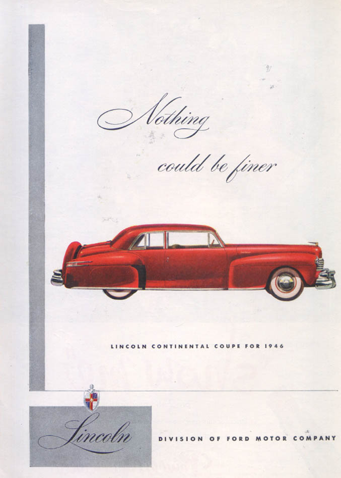 Image for Lincoln Continental Coupe Nothing finer ad 1946