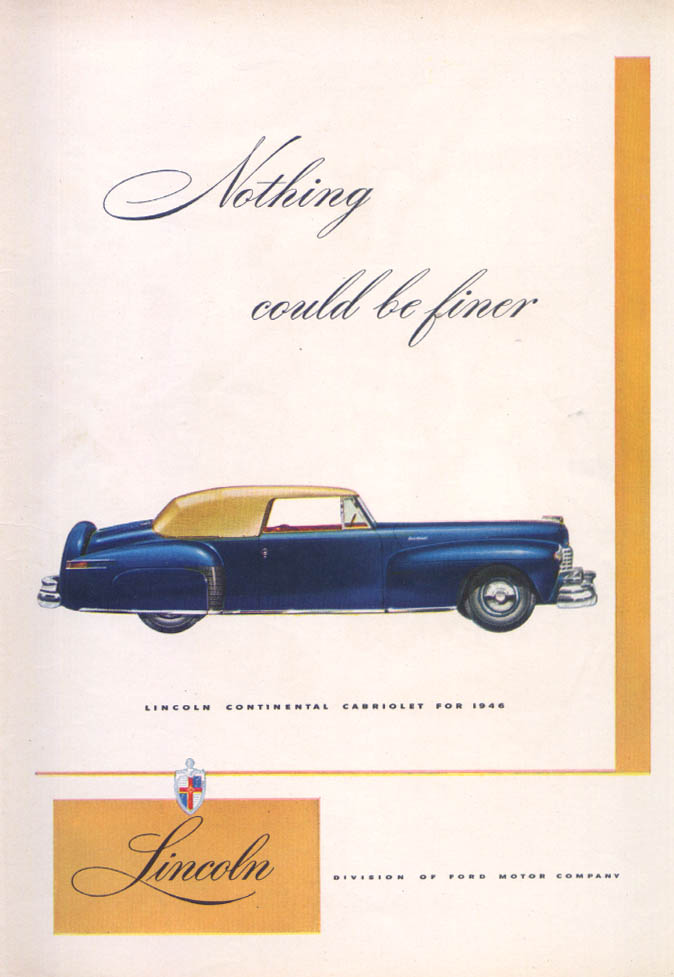 Image for Lincoln Continental Cabriolet Nothing finer ad 1946