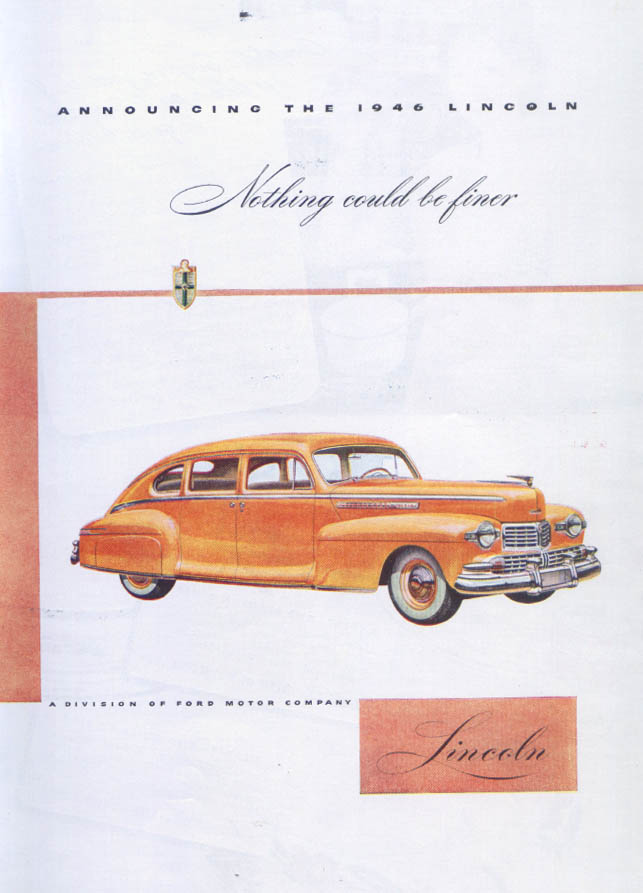 Image for Announcing the 1946 Lincoln Nothing could be finer ad