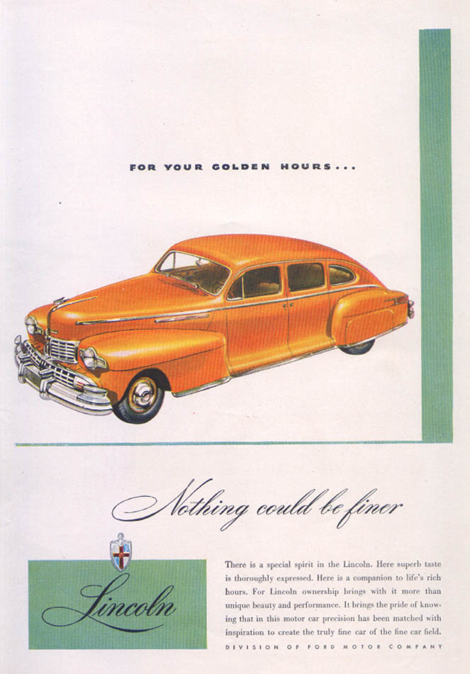 Image for Lincoln For Your Golden Hours ad 1946
