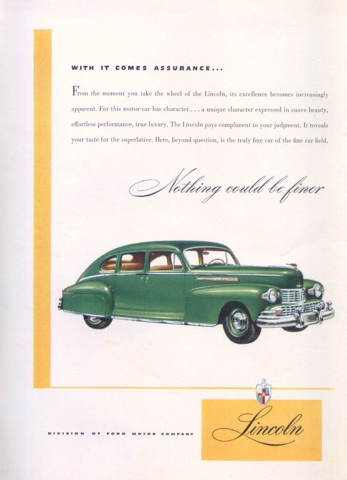 Image for Lincoln With it comes assurance… Nothing finer Ad 1946
