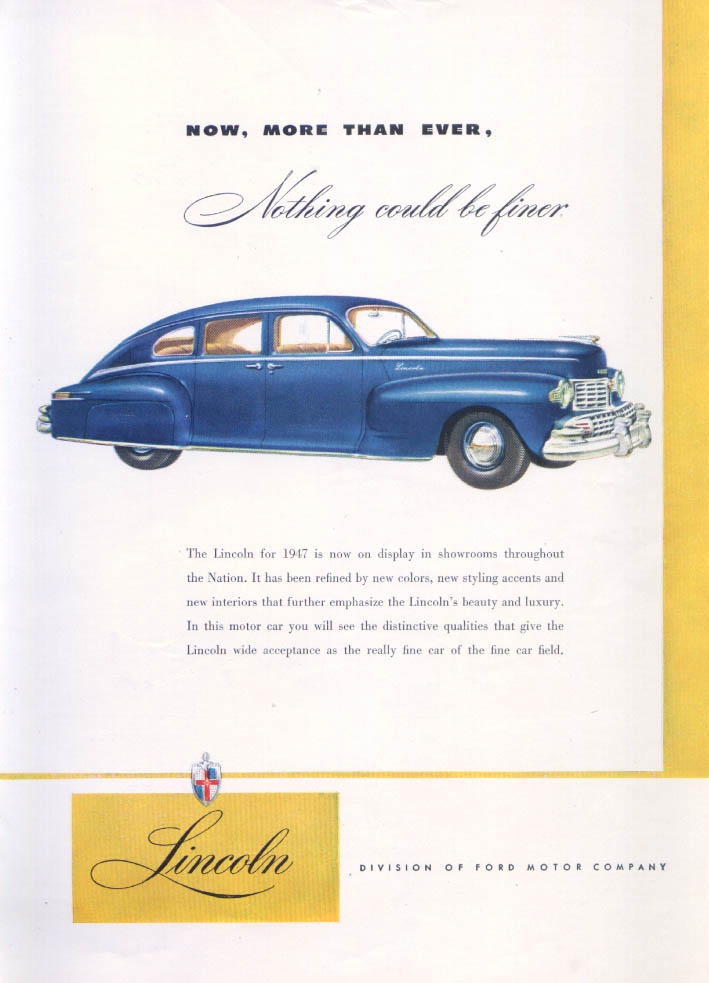 Image for Lincoln Now More Than Ever Nothing Finer ad 1947