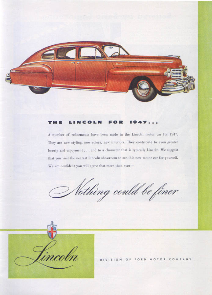 Image for Lincoln new styling, colors, interiors ad 1947