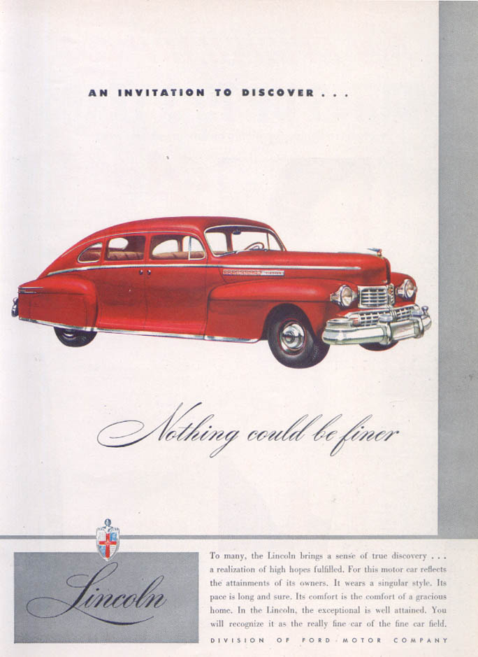 Image for Lincoln An Invitation to Discover… ad 1947