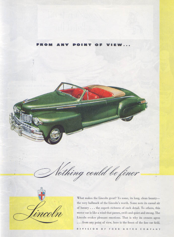 Image for Lincoln From Any Point of View… convertible ad 1946