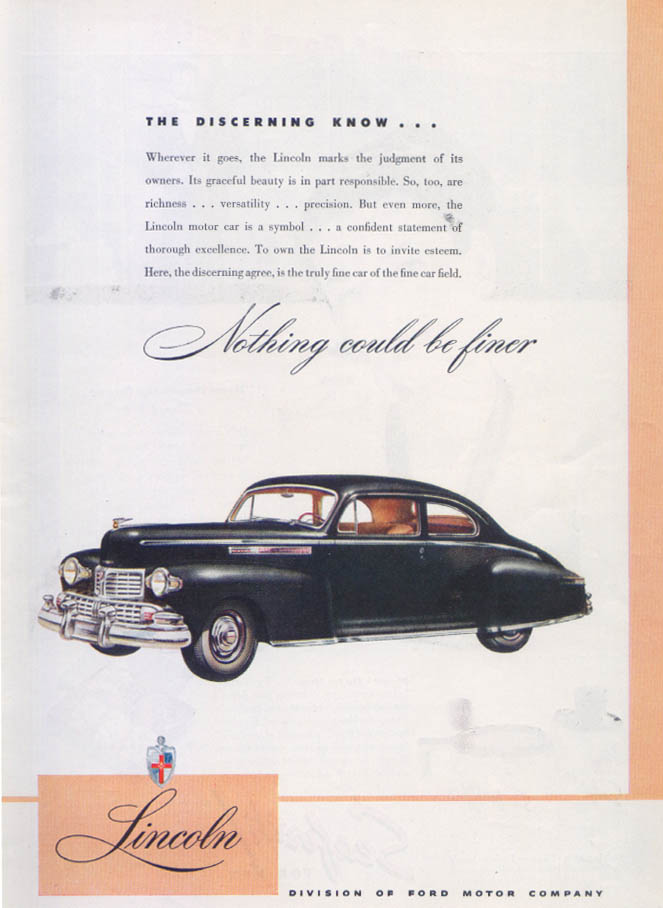 Image for Lincoln The Discerning Know… Nothing Finer ad 1946
