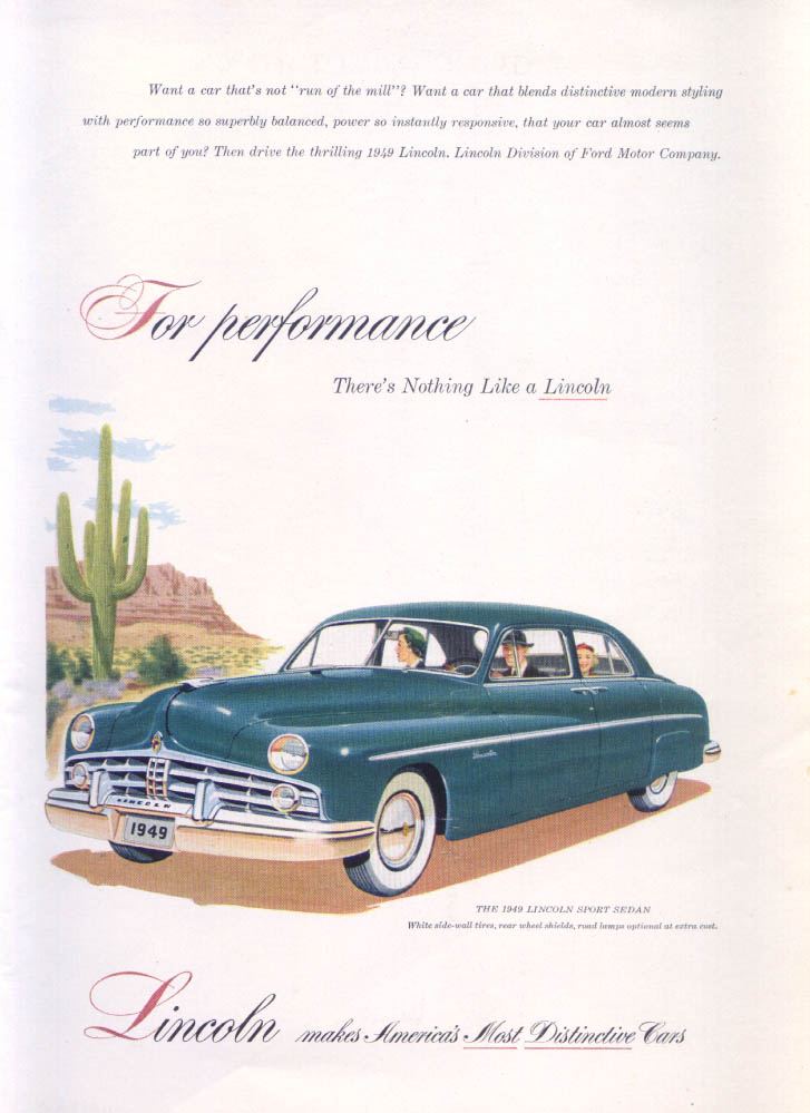 Image for Lincoln For Performance Sport Sedan ad 1949