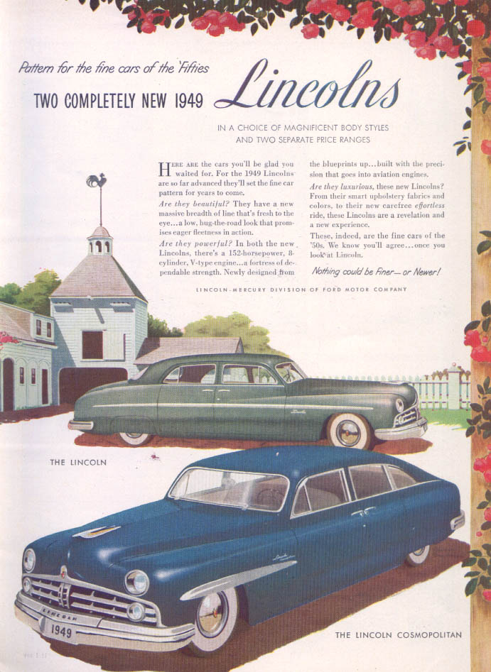 Image for Lincoln Pattern cars of Fifties Cosmopolitan ad 1949