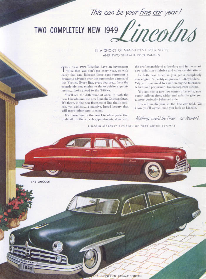 Image for Lincoln this can be Fine car year Cosmopolitan ad 1949