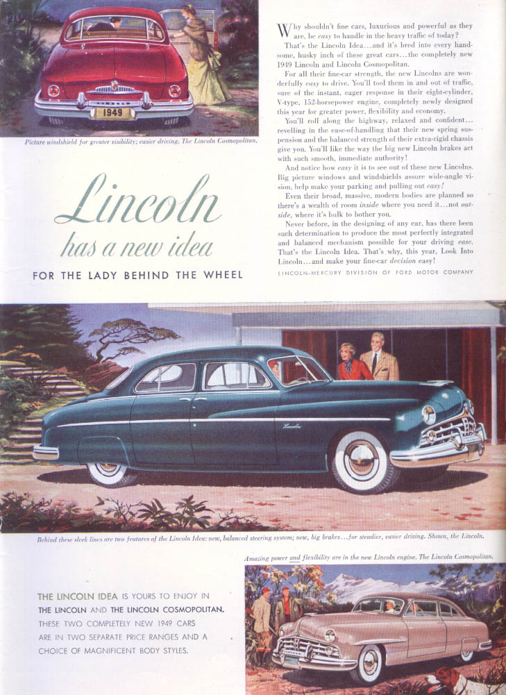 Image for Lincoln Cosmopolitan for Lady Behind the Wheel ad 1949