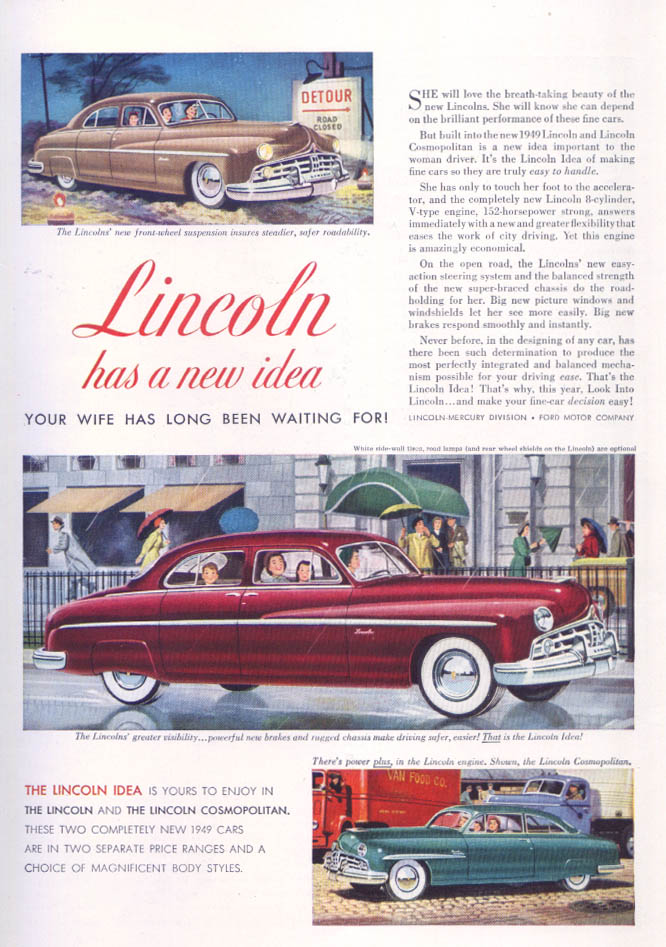 Image for Lincoln Your Wife Has Been Waiting Cosmopolitan ad 1949