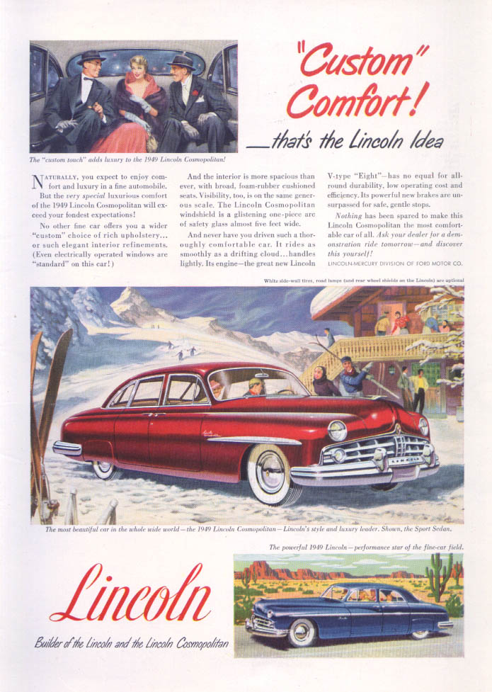 Image for Lincoln Custom Comfort Cosmopolitan ad 1949