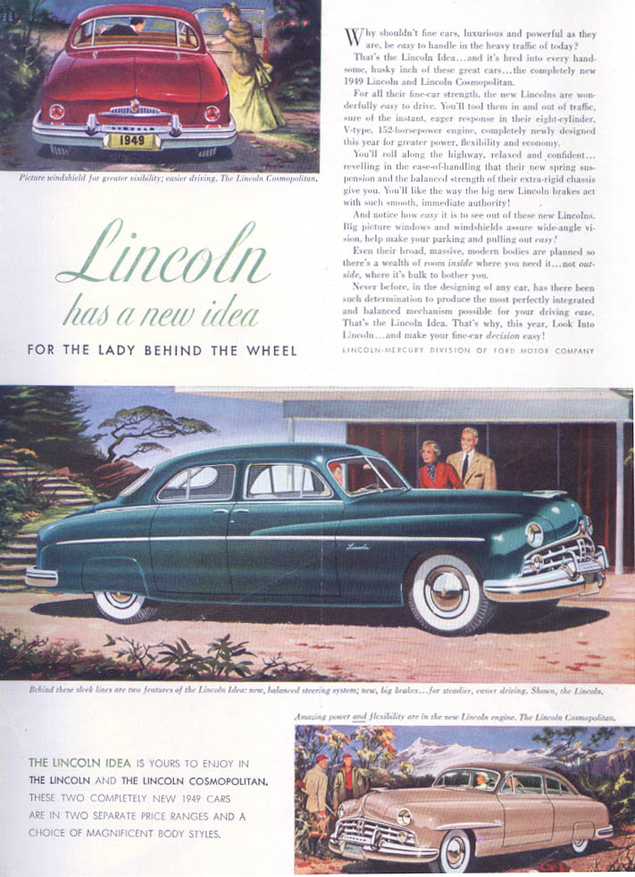Image for Lincoln For Lady Behind the Wheel Cosmopolitan ad 1949
