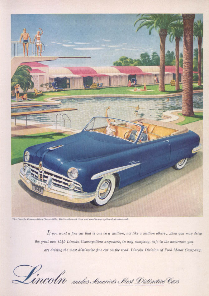 Image for Lincoln Cosmopolitan Convertible at pool ad 1949