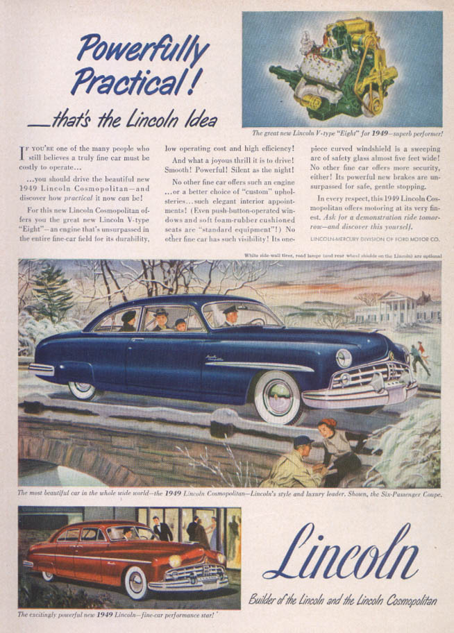 Image for Lincoln Powerfully Practical Cosmopolitan ad 1949
