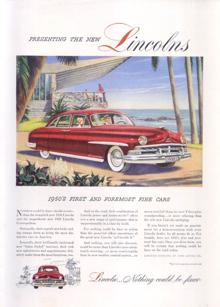 Image for Lincoln Cosmopolitan Nothing could be finer ad 1950