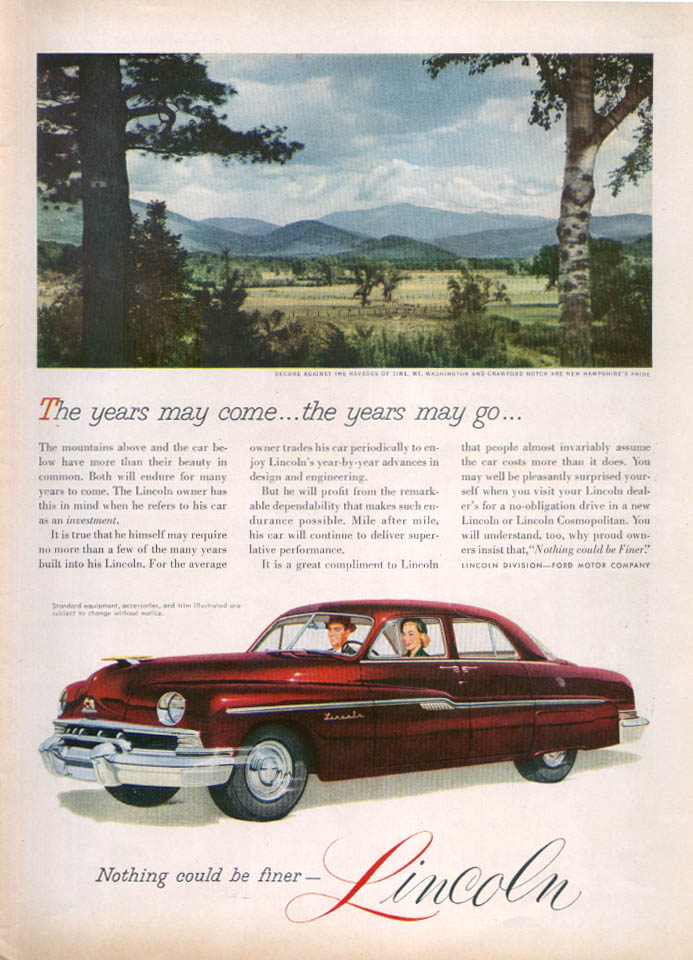 Image for Lincoln Mt. Washington Years may come... Ad 1951