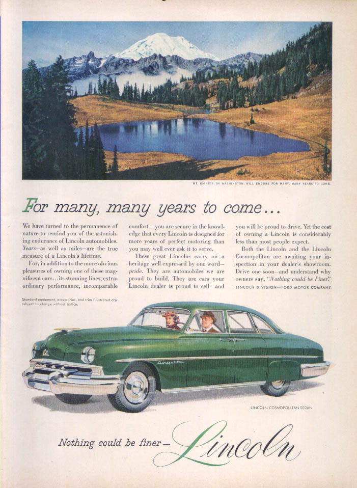 Image for Lincoln For many years to come… Mt. Rainer ad 1951