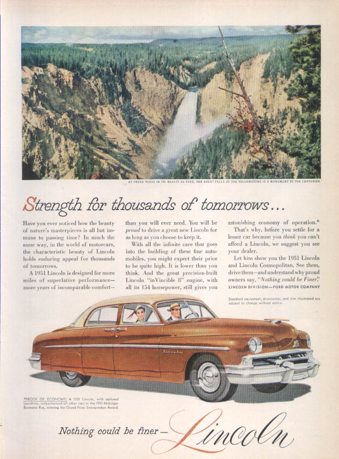Image for Lincoln Yellowstone Falls ad 1951