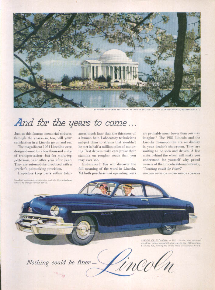 Image for Lincoln for years to come… Jefferson Memorial ad 1951