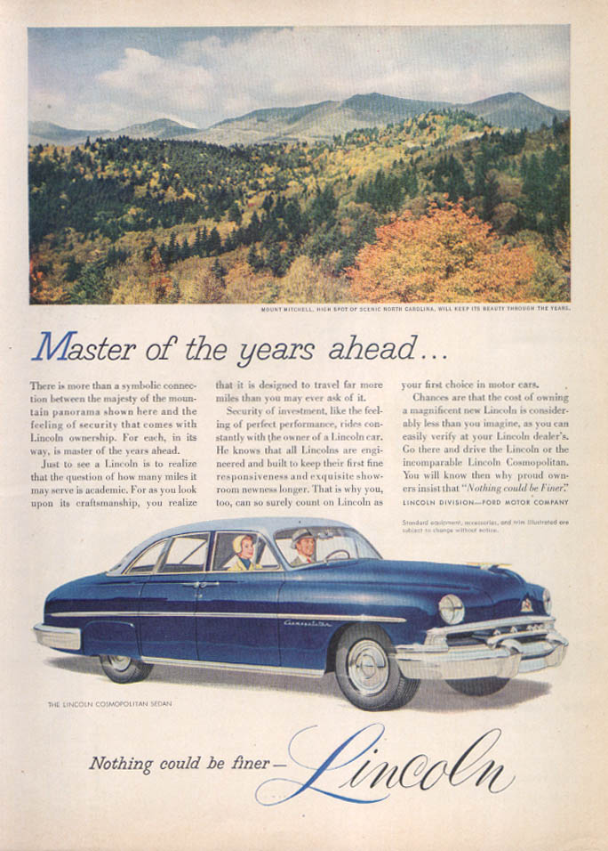 Image for Lincoln Cosmopolitan Sedan Mount Mitchell ad 1951