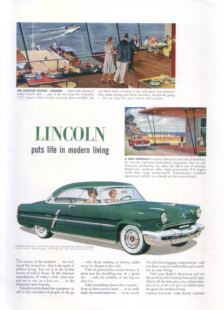 Image for Lincoln puts life in modern living ad 1952