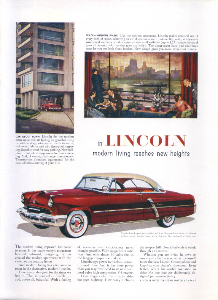 Image for Lincoln modern living reaches new heights ad 1952